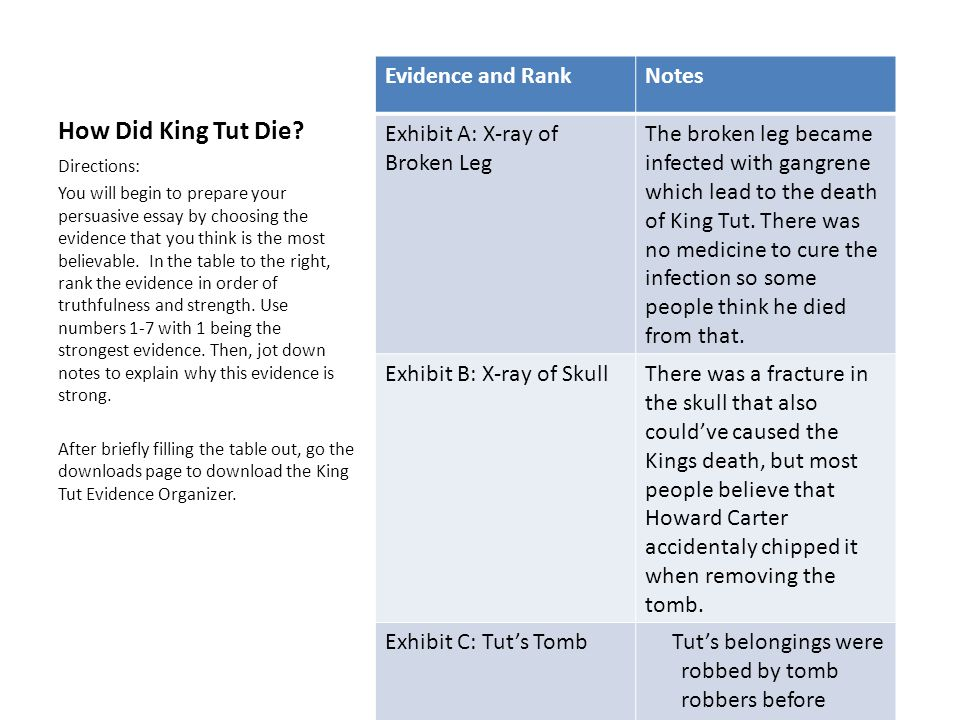 How Did King Tut Die Directions The Following Slides Contain  How Did King Tut Die Evidence And Rank Notes