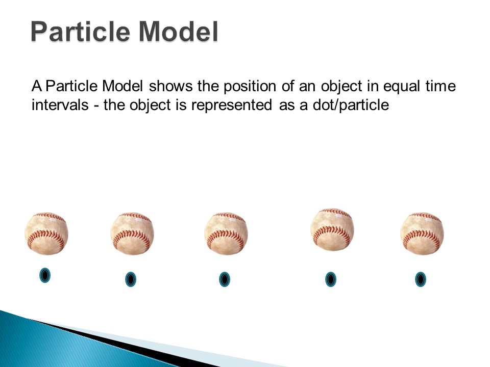 Particle Model A Particle Model shows the position of an object in equal time intervals - the object is represented as a dot/particle.