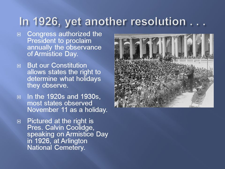 In 1926, yet another resolution . . .