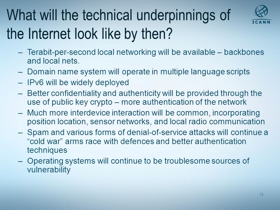 What will the technical underpinnings of the Internet look like by then