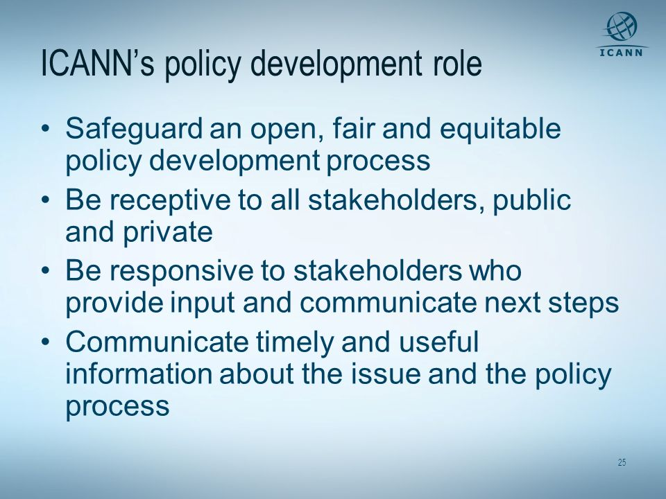 ICANN's policy development role