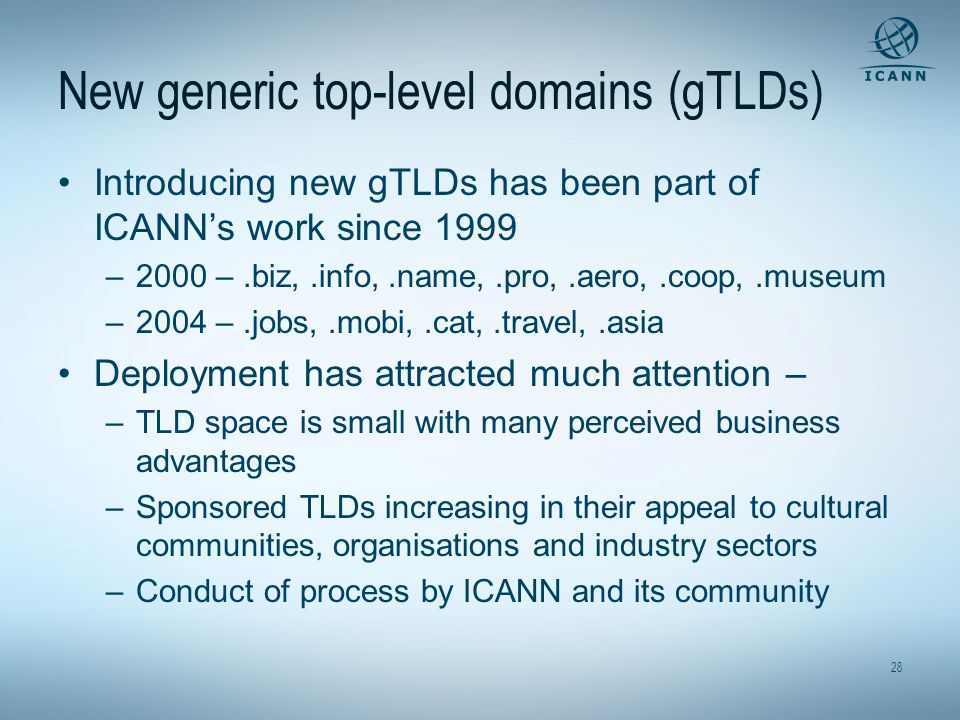 New generic top-level domains (gTLDs)