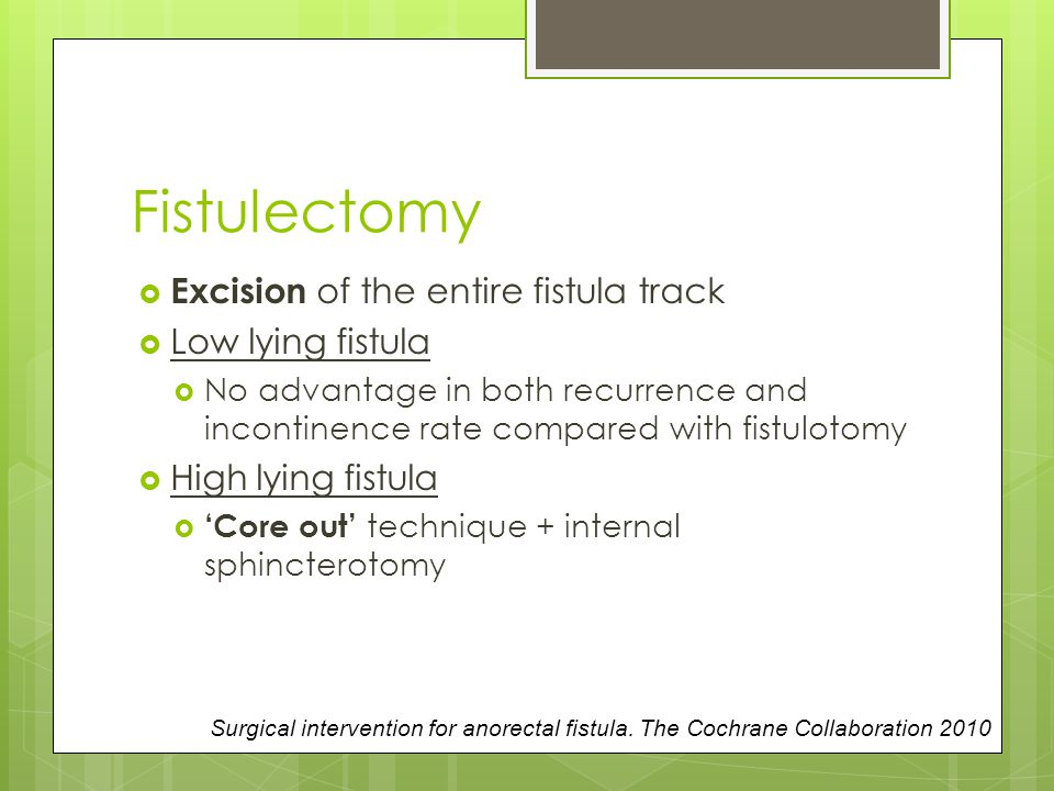 Fistulectomy Excision of the entire fistula track Low lying fistula