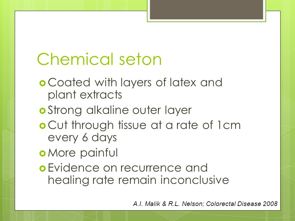 Chemical seton Coated with layers of latex and plant extracts