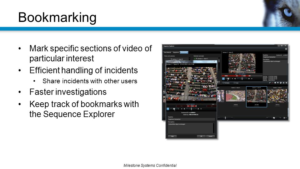 Bookmarking Mark specific sections of video of particular interest