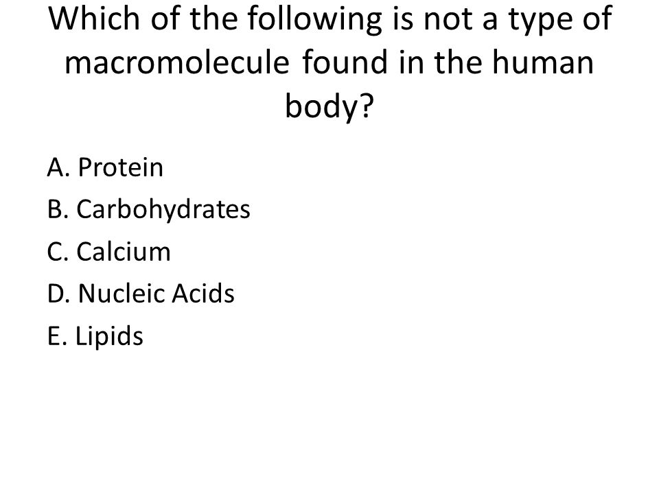 Practice questions macromolecule quiz ppt video online download which of the following is not a type of macromolecule found in the human body ccuart Choice Image