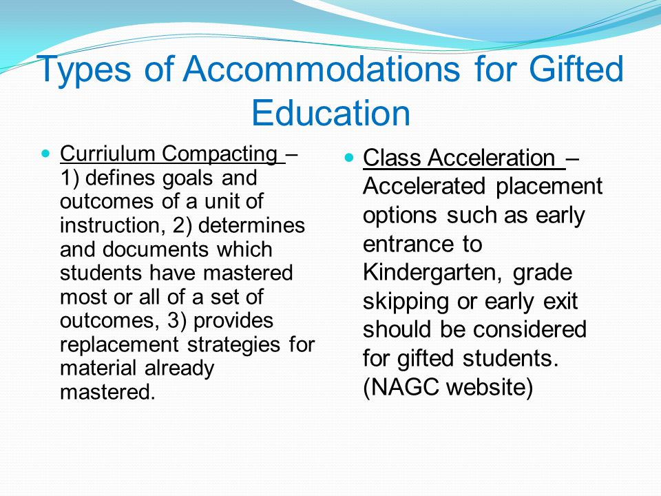 Types of Accommodations for Gifted Education