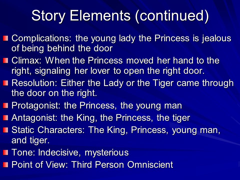 who is the protagonist in the lady or the tiger