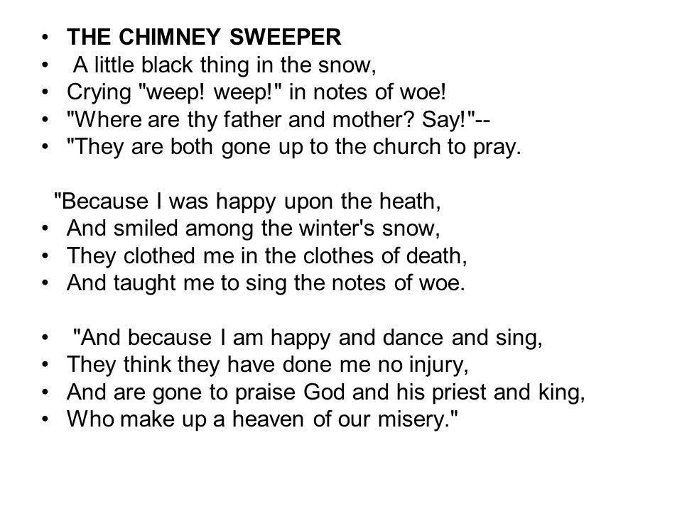 the chimney sweeper explanation