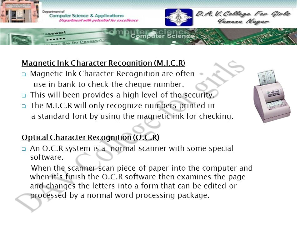 Magnetic Ink Character Recognition (M.I.C.R)