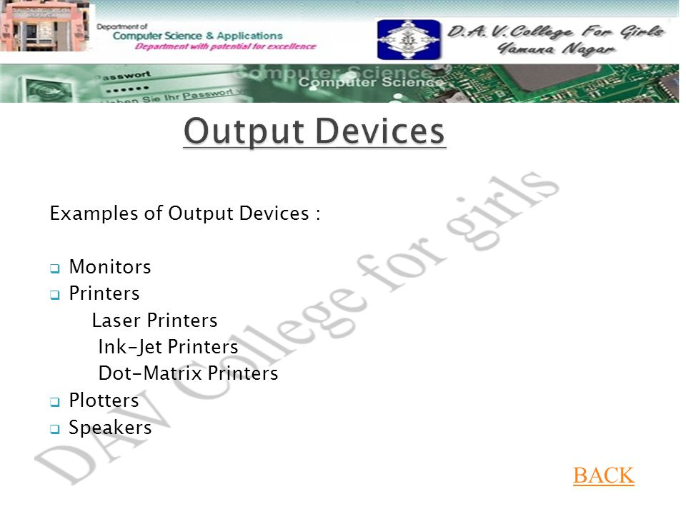 Output Devices BACK Examples of Output Devices : Monitors Printers