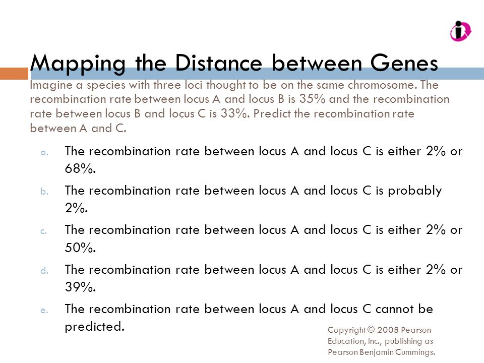 Mapping the Distance between Genes Imagine a species with three loci thought to be on the same chromosome. The recombination rate between locus A and locus B is 35% and the recombination rate between locus B and locus C is 33%. Predict the recombination rate between A and C.
