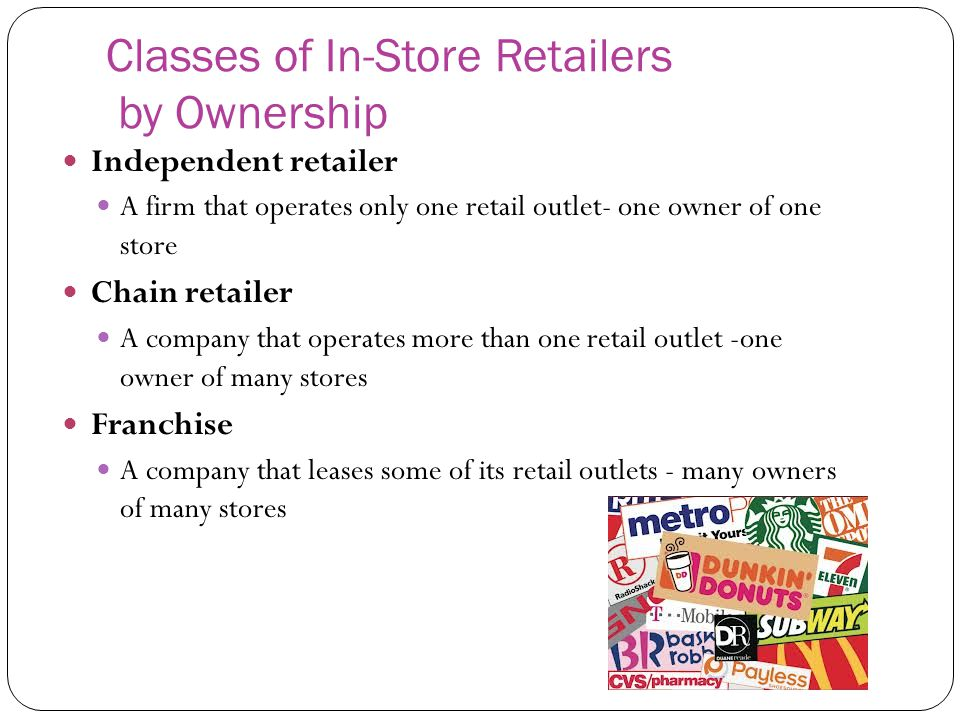 Classes of In-Store Retailers by Ownership