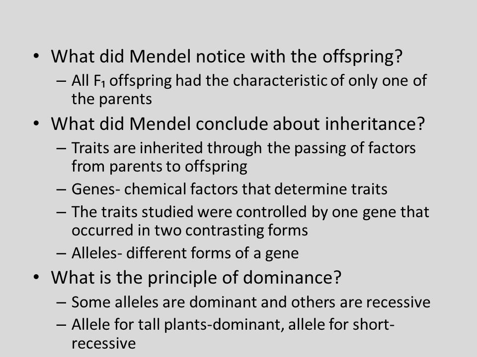 What did Mendel notice with the offspring