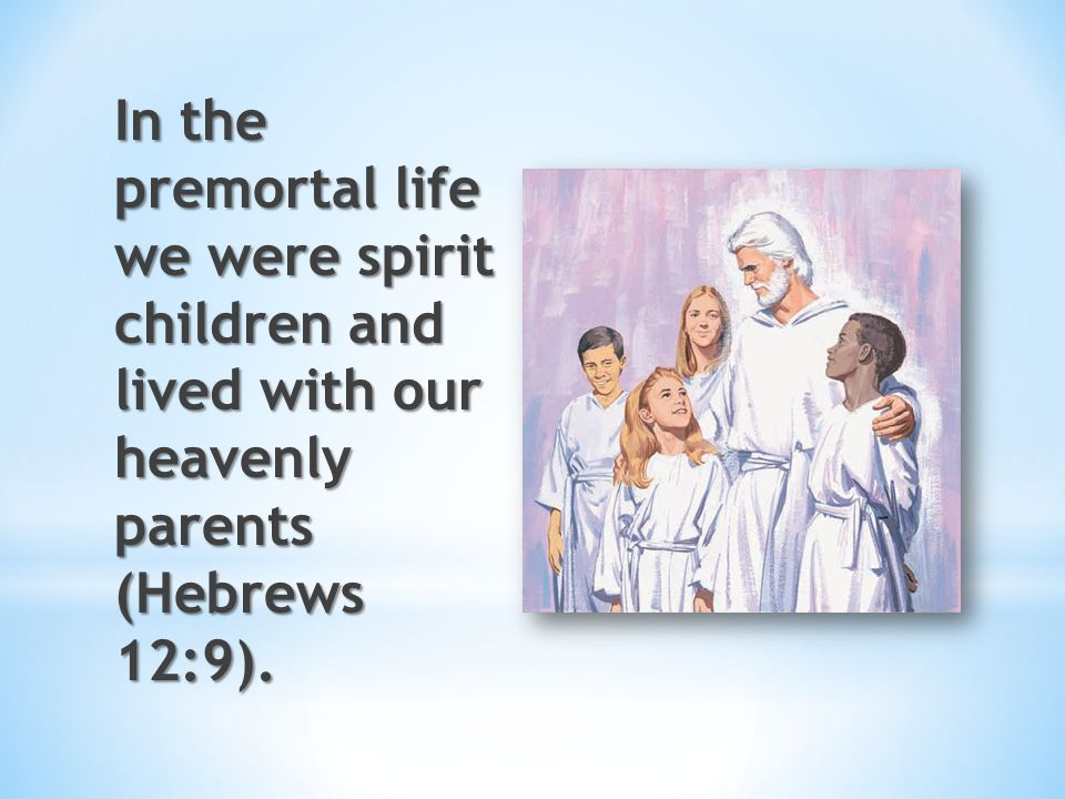In the premortal life we were spirit children and lived with our heavenly parents (Hebrews 12:9).