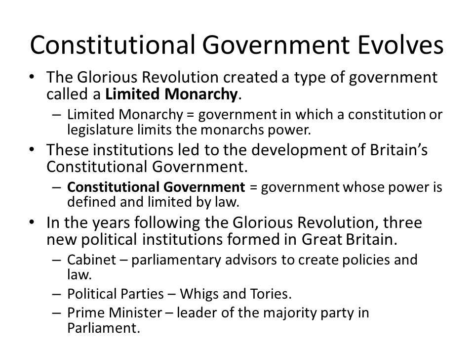 Constitutional Government Evolves