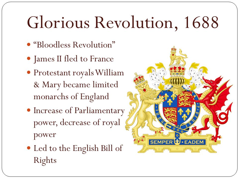 Glorious Revolution, 1688 Bloodless Revolution