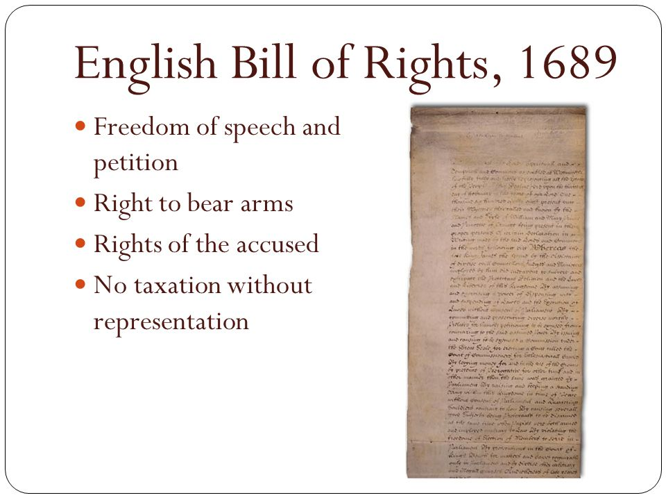 English Bill of Rights, 1689 Freedom of speech and petition