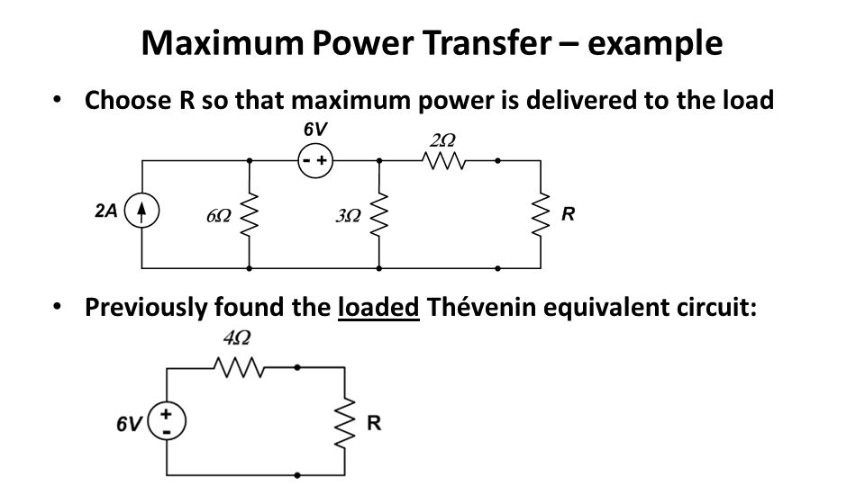 Maximum Power Transfer – example