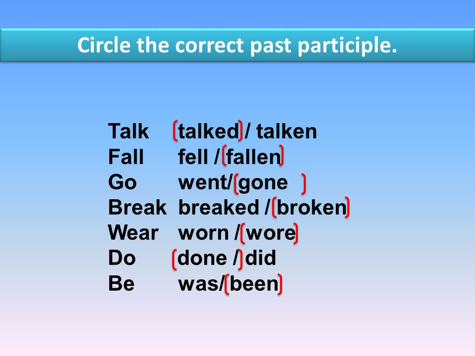 Circle the correct past participle.