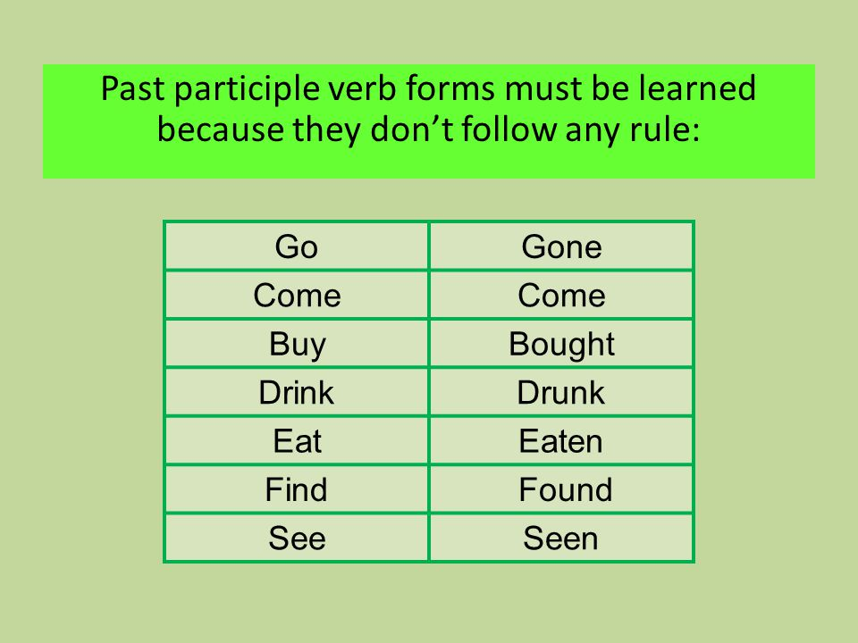 Past participle verb forms must be learned because they don't follow any rule: