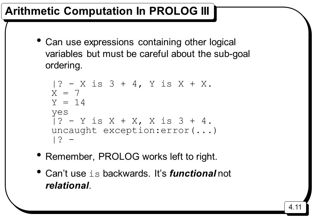 Arithmetic Computation In PROLOG III