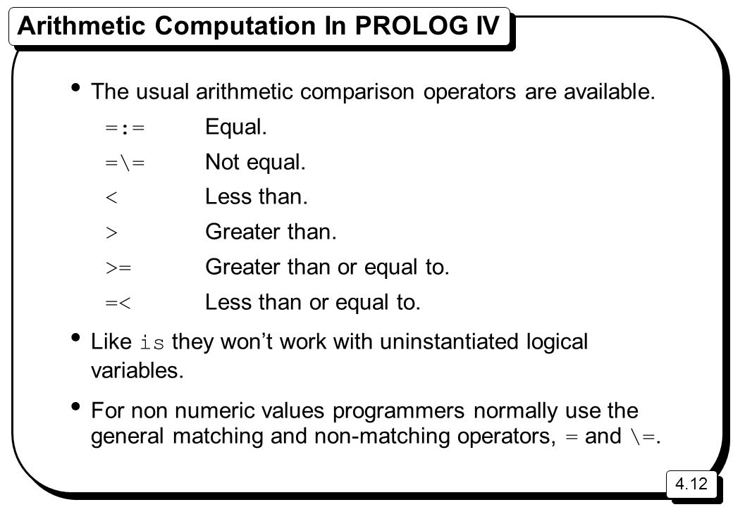 Arithmetic Computation In PROLOG IV