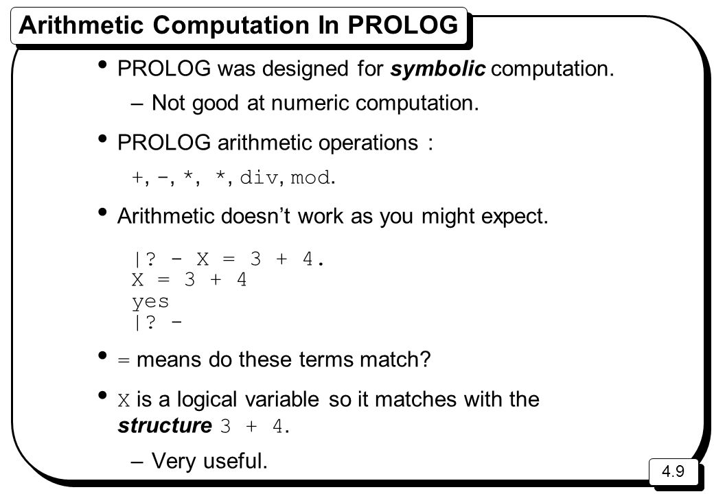 Arithmetic Computation In PROLOG