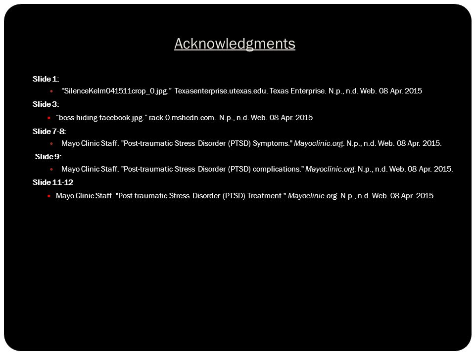 Acknowledgments Slide 1: