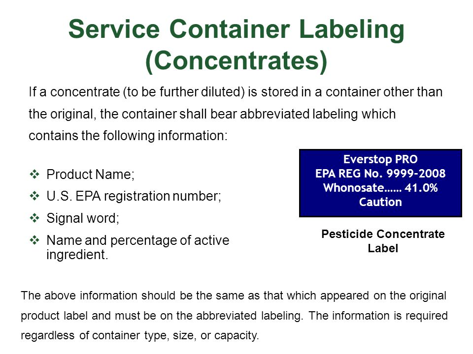 Service Container Labeling (Concentrates)