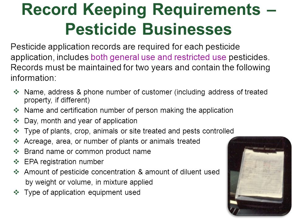 Record Keeping Requirements – Pesticide Businesses