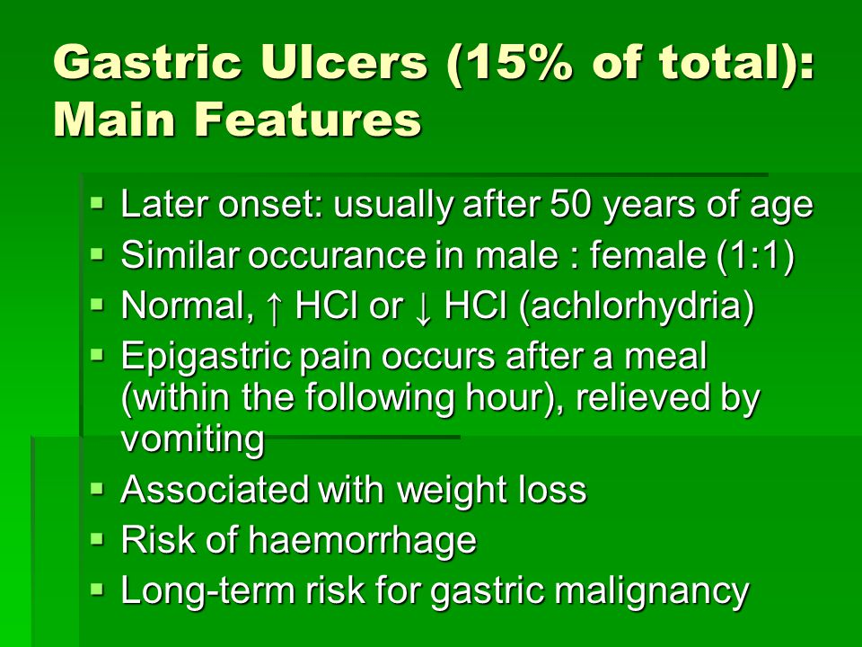 Gastric Ulcers (15% of total): Main Features