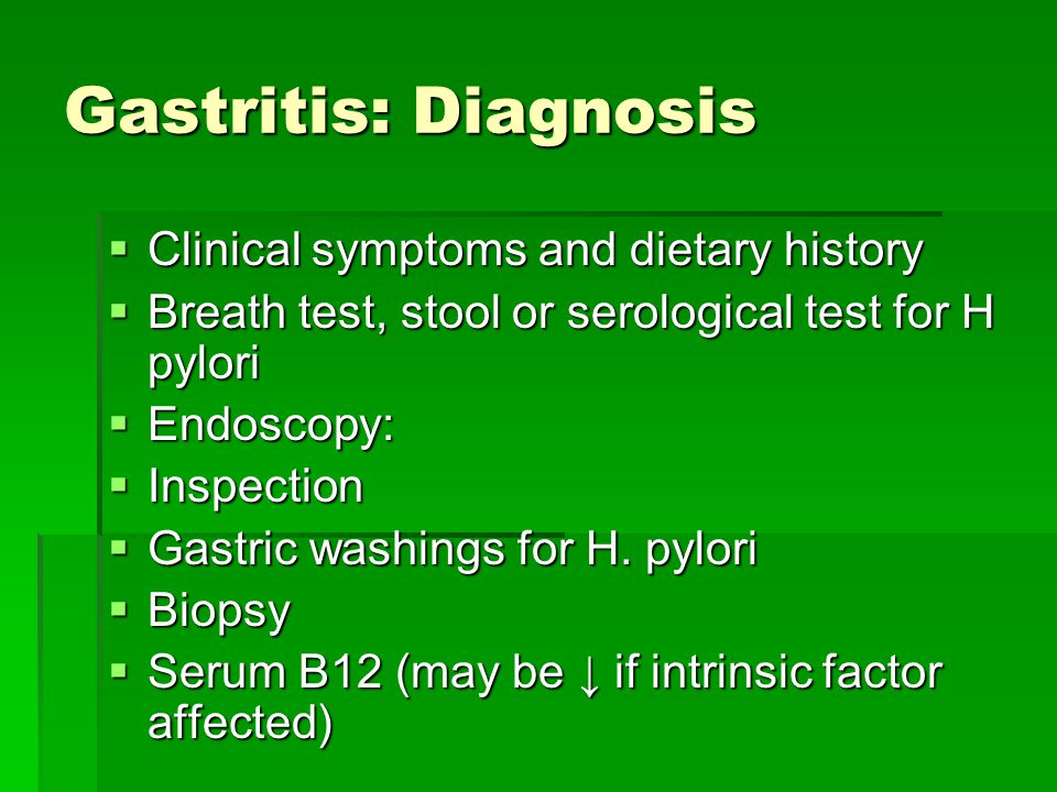 Gastritis: Diagnosis Clinical symptoms and dietary history