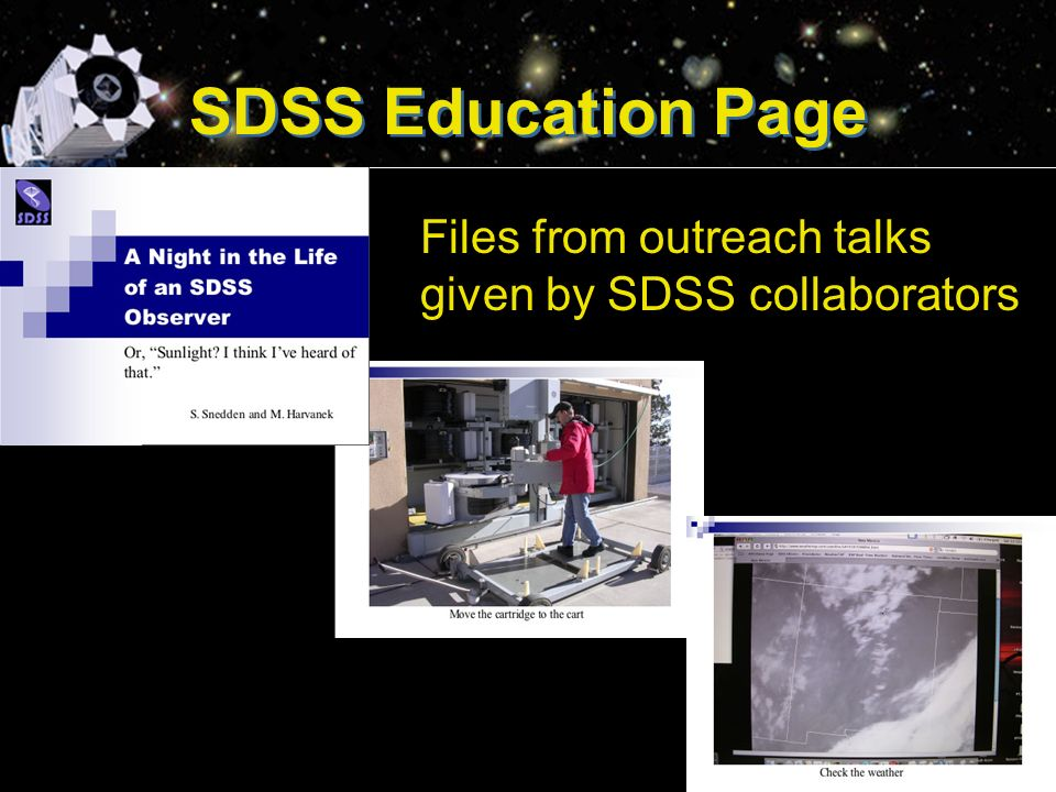 SDSS Education Page Files from outreach talks given by SDSS collaborators