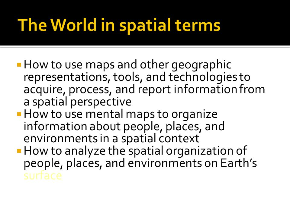 The World in spatial terms