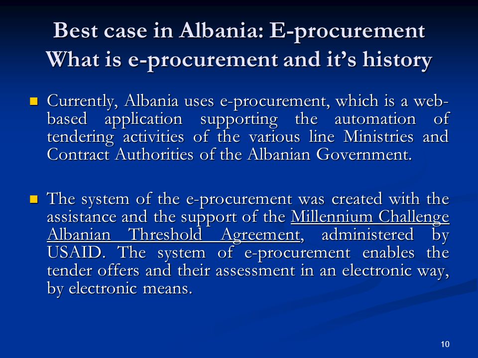 Best case in Albania: E-procurement What is e-procurement and it's history
