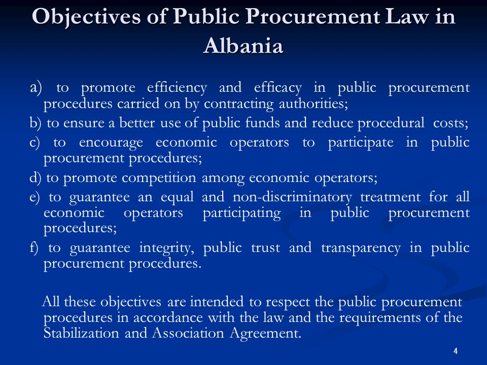 Objectives of Public Procurement Law in Albania