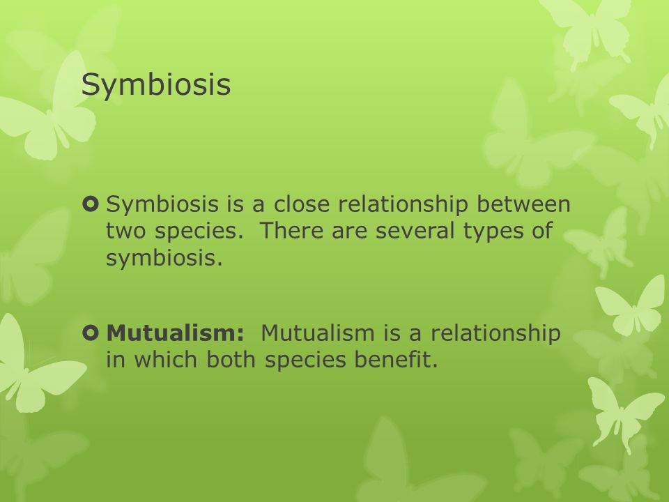 Symbiosis Symbiosis is a close relationship between two species. There are several types of symbiosis.