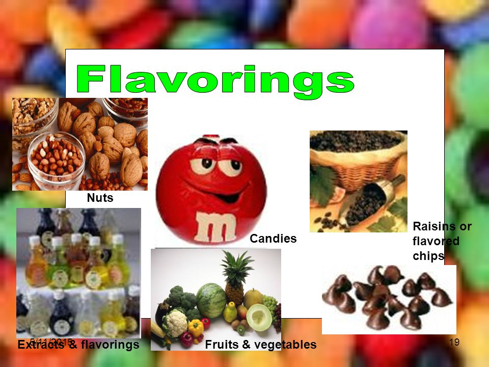 Flavorings Nuts Raisins or flavored chips Candies