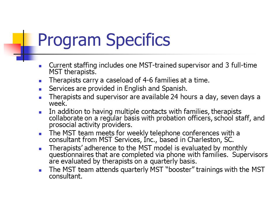 Program Specifics Current staffing includes one MST-trained supervisor and 3 full-time MST therapists.