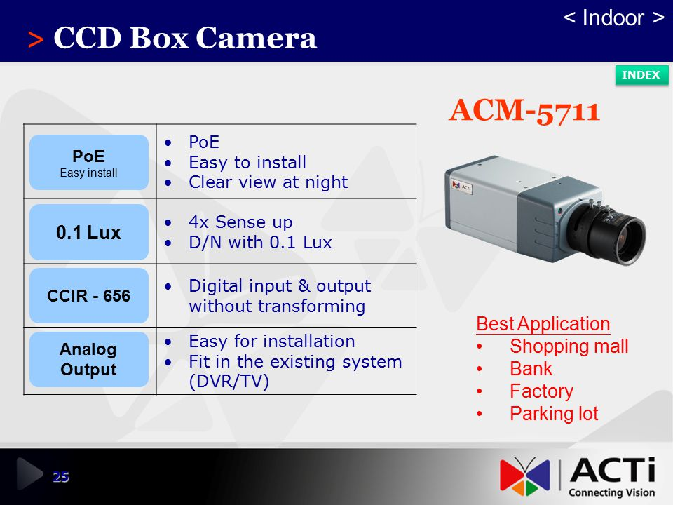 > CCD Box Camera ACM-5711 < Indoor > 0.1 Lux Best Application