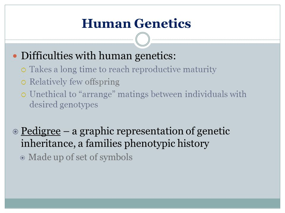 Human Genetics Difficulties with human genetics: