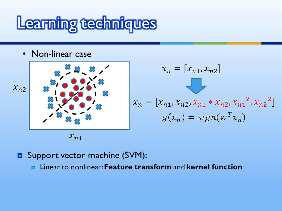 Learning techniques Non-linear case Support vector machine (SVM):
