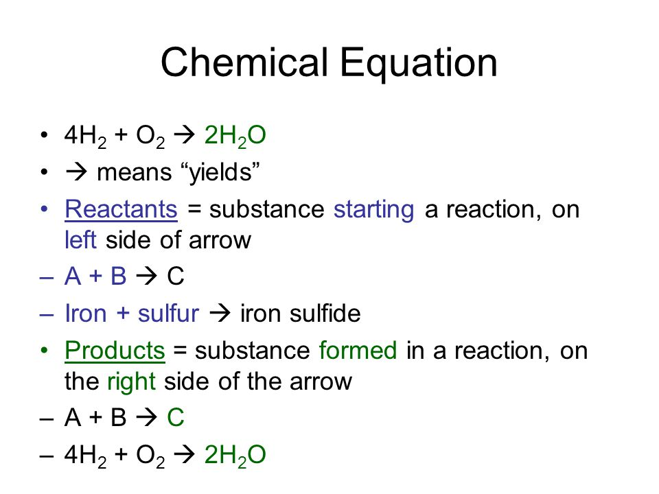 Chemical Equation 4H2 + O2  2H2O  means yields