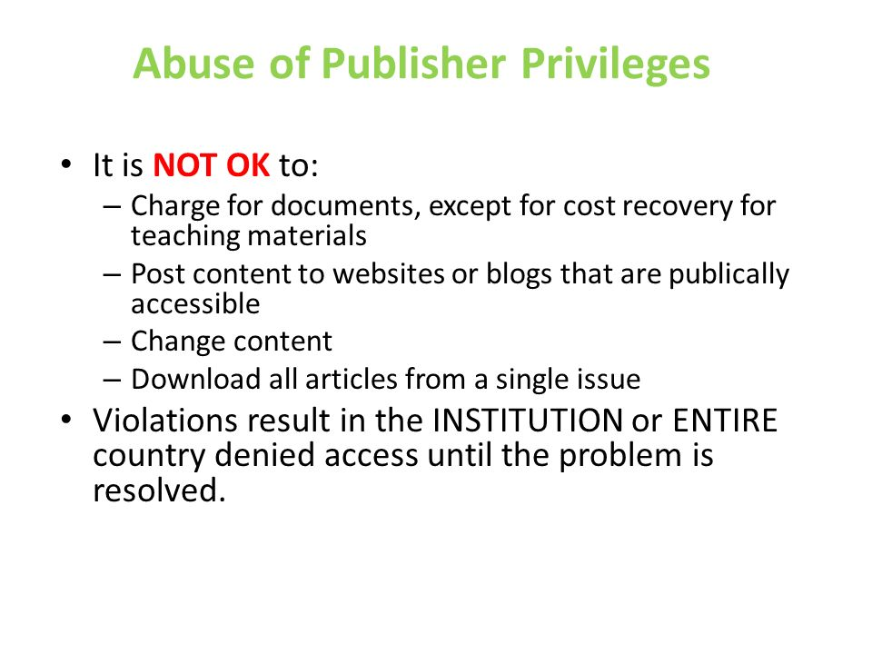 Abuse of Publisher Privileges
