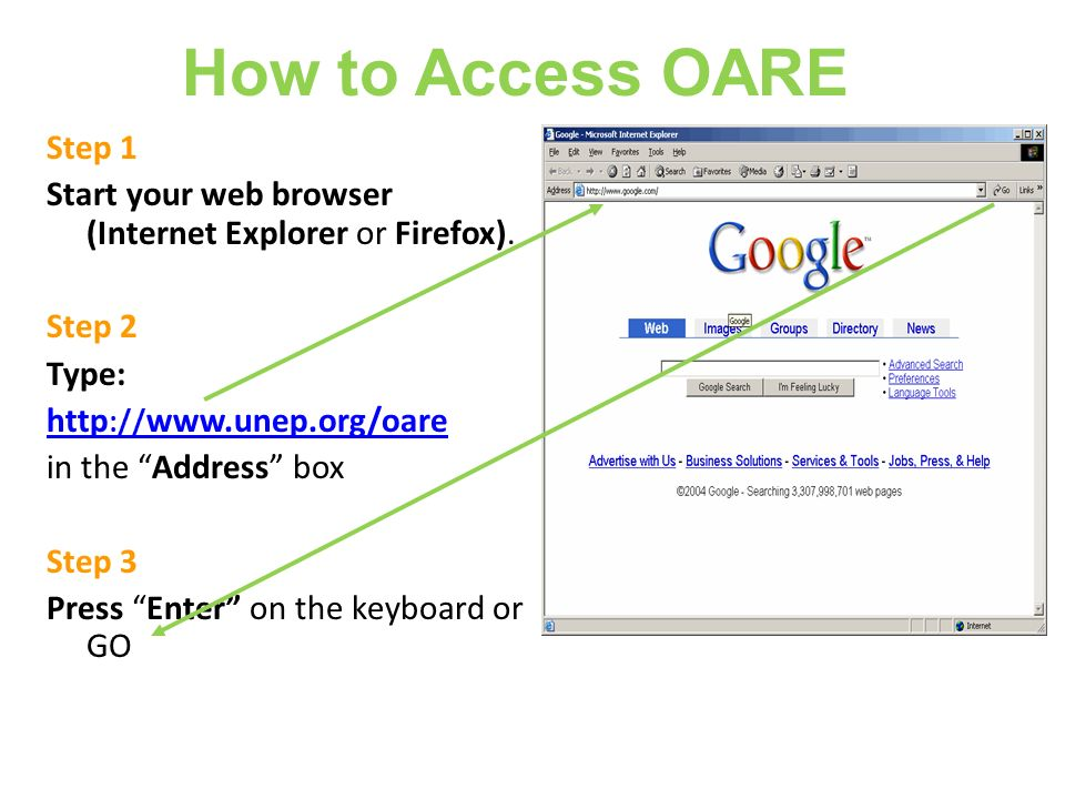 How to Access OARE Step 1. Start your web browser (Internet Explorer or Firefox). Step 2. Type: