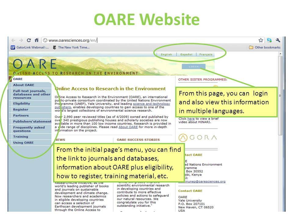 OARE Website From this page, you can login and also view this information in multiple languages.
