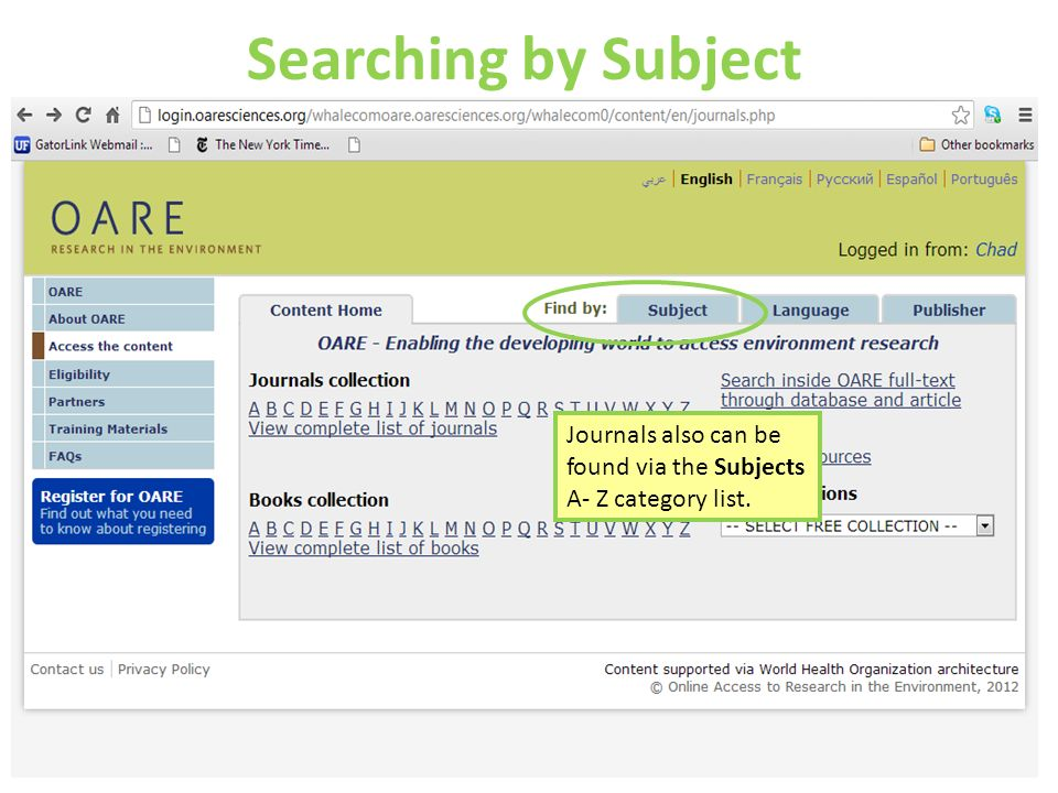 Searching by Subject Journals also can be found via the Subjects A- Z category list.