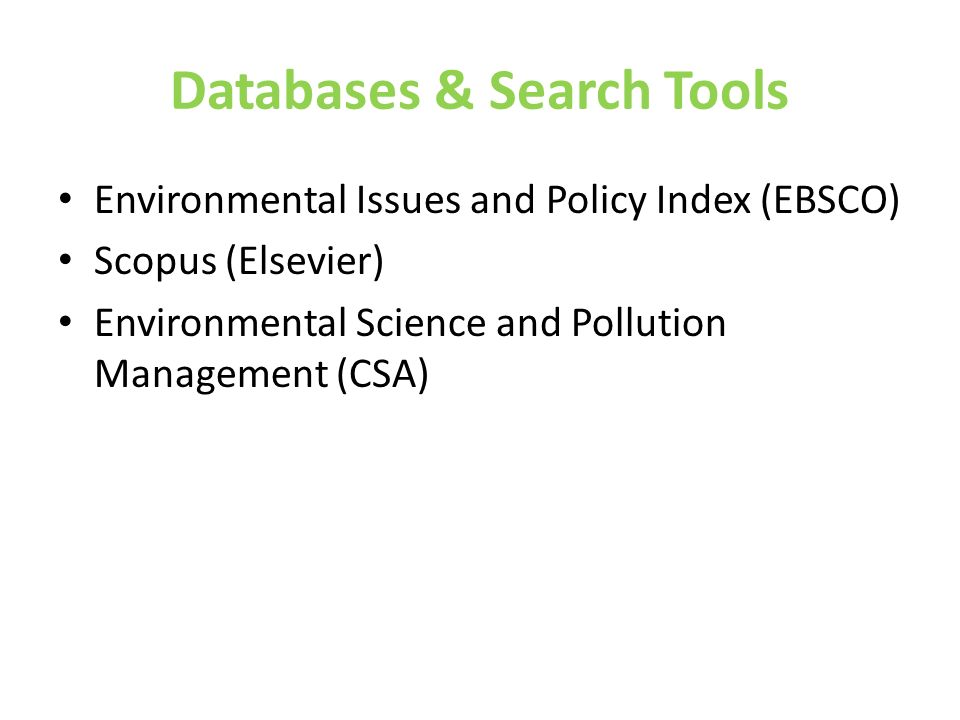 Databases & Search Tools