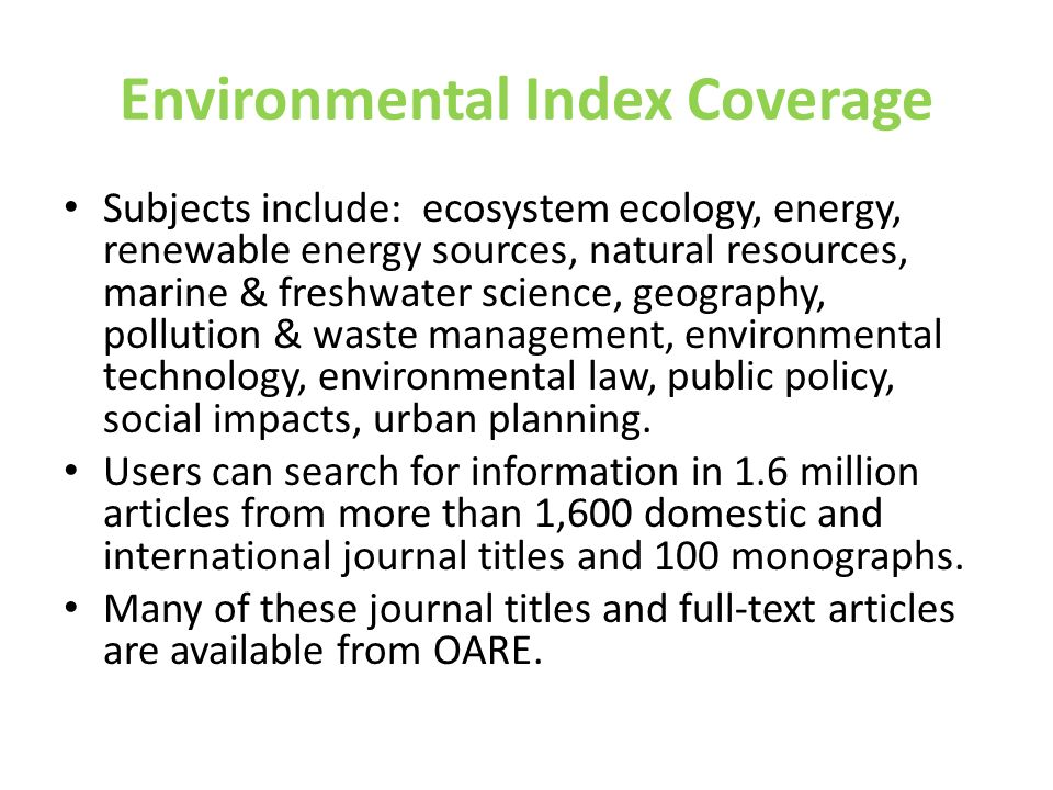 Environmental Index Coverage
